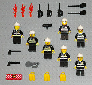 LEGO-Minifigures-Lot-7-Firemen-People-Town-City-Guys-Tools-Rescue-Minifigs-Toys