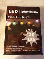 LED Lichterkette Party Beleuchtung 20 Bunte Kugeln. Leuchtkette Biergarten Disco