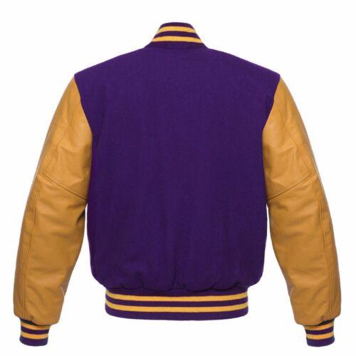 Purple Wool Varsity Letterman Baseball Bomber Jacket YellowGold Real Leather Arm