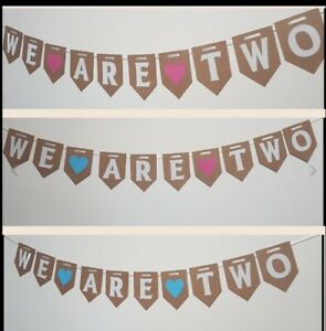 WE-ARE-TWO-Bunting-Party-Decorations-Girl-boy-twin-Cake-Smash-Banner-pink-blue