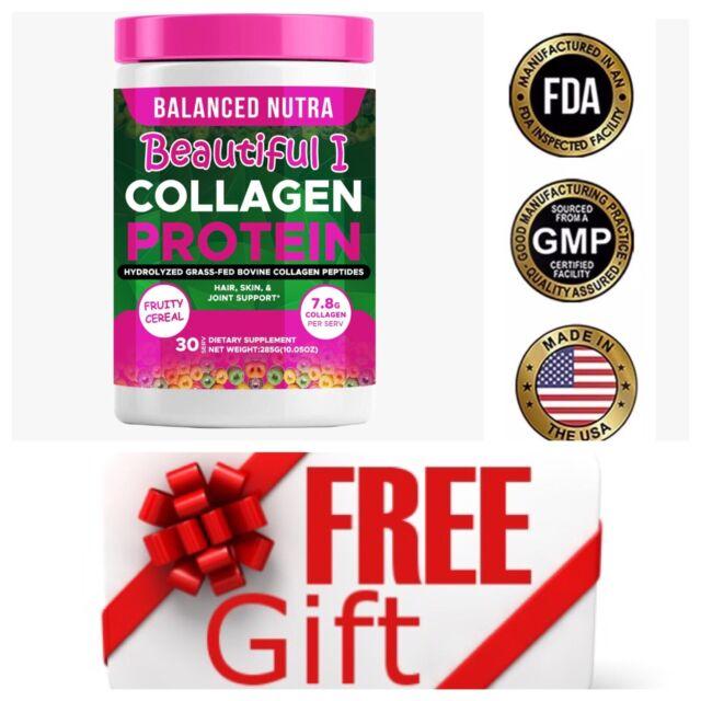 ▶ Premium Collagen Peptides  Hydrolyzed Anti-Aging Protein Powder Fruit Loops