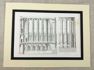 1857-Print-French-Architectural-Print-Reims-Cathedral-Genuine-Antique-Engraving