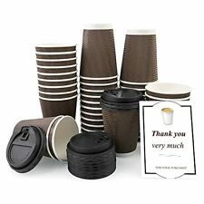 40 Packs 12oz Disposable Coffee Cups With Lids Ripple Wall Paper Cup Insulate