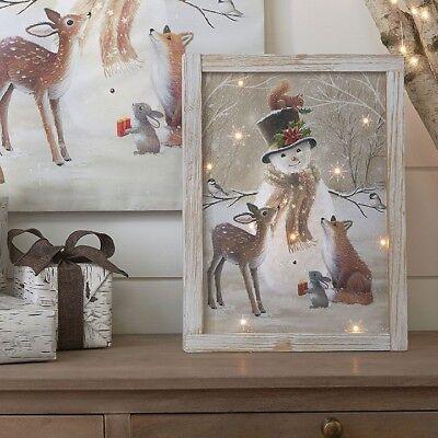 NEW!~RAZ Imports~Woodland Snowman /& Animal Friends Christmas Glass Ornament~Tree