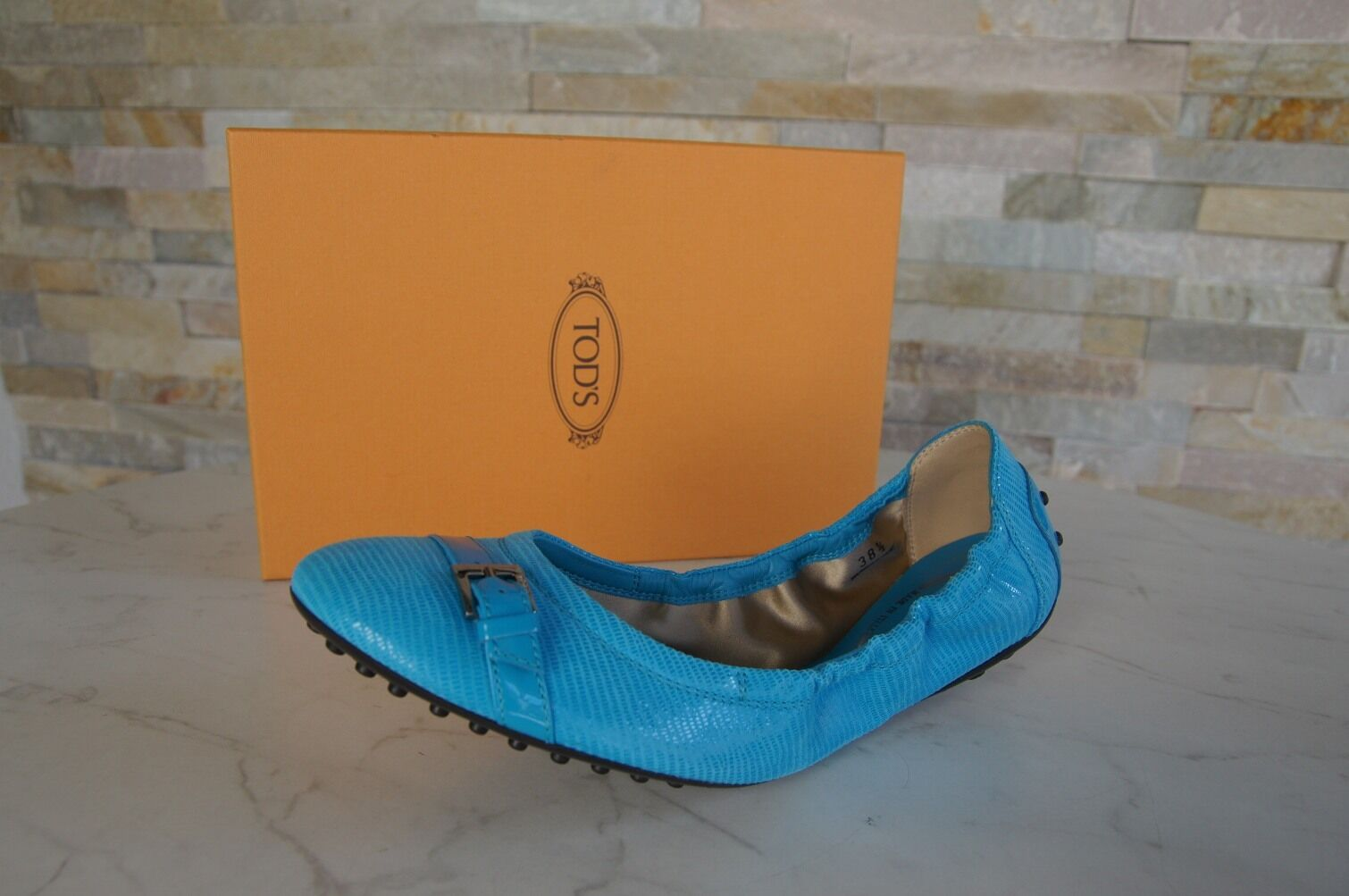 TOD'S Gr 38,5 Ballerinas Slipper Blau Halbschuhe Schuhe schuhe BLAU Blau Slipper NEU 4f15d9