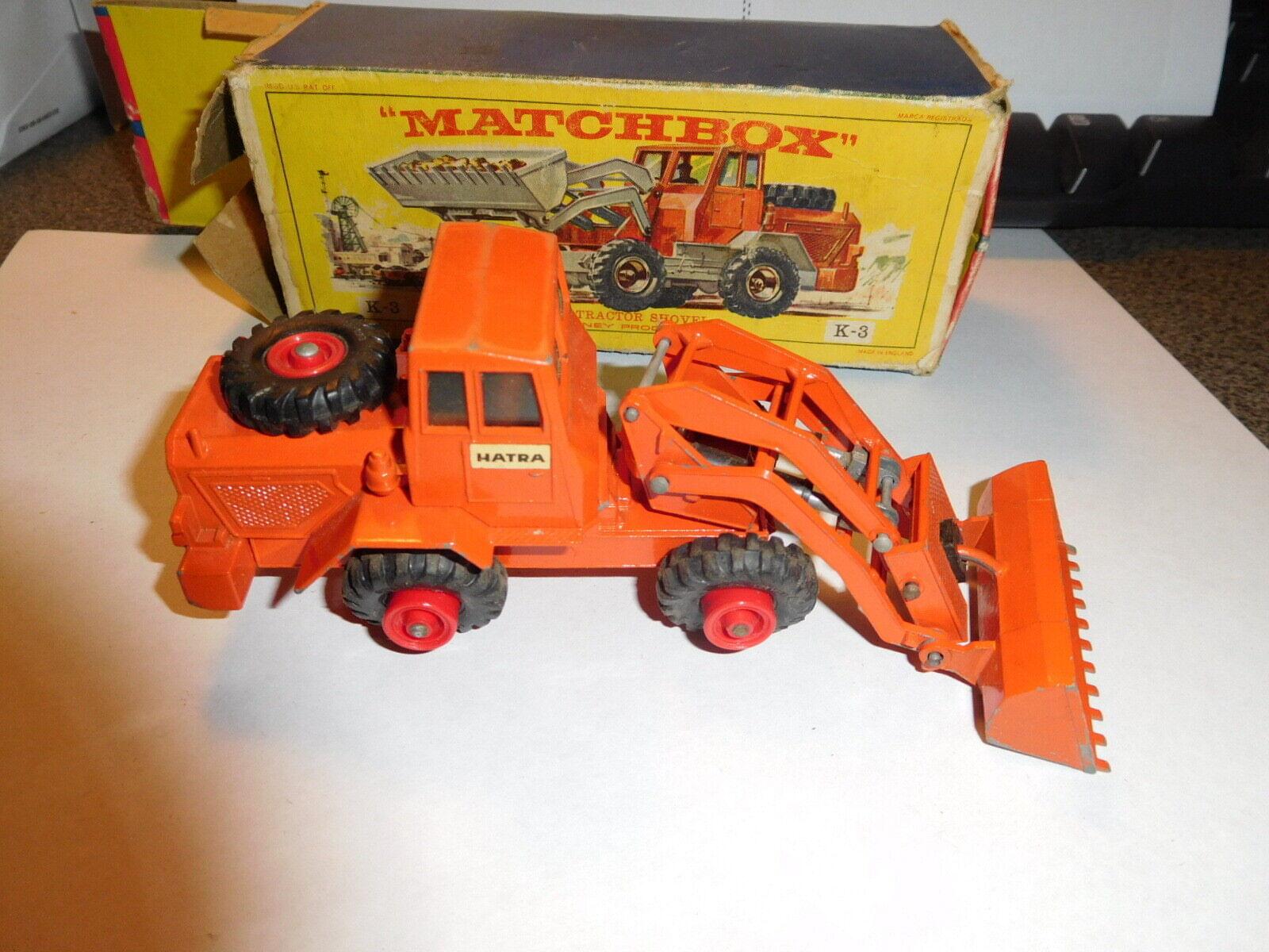 Matchbox Lesney K-3 harta Tractor Pala King Talla Caja y vehículo