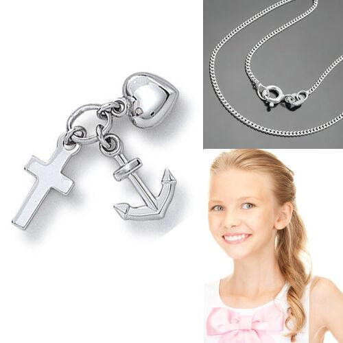 GLAUBE Kreuz LIEBE Herz HOFFNUNG Anker zur Taufe Kommunion /& Kette Silber 925
