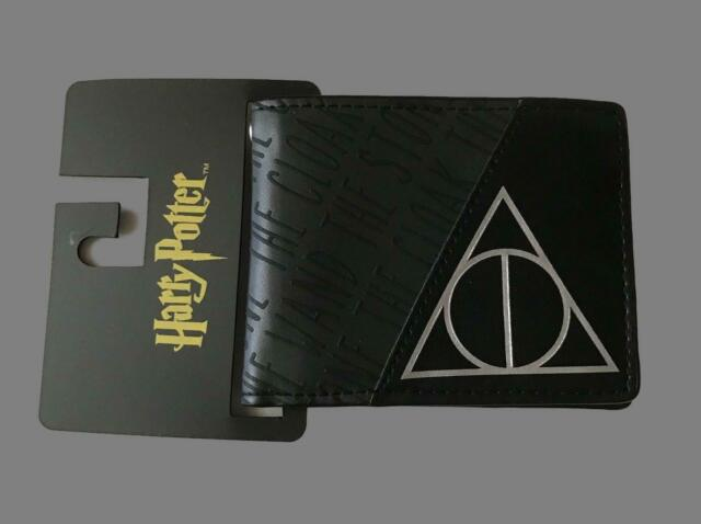 Harry Potter Deathly Hallows Symbol Bifold Wallet Black Bioworld Wand Cloak