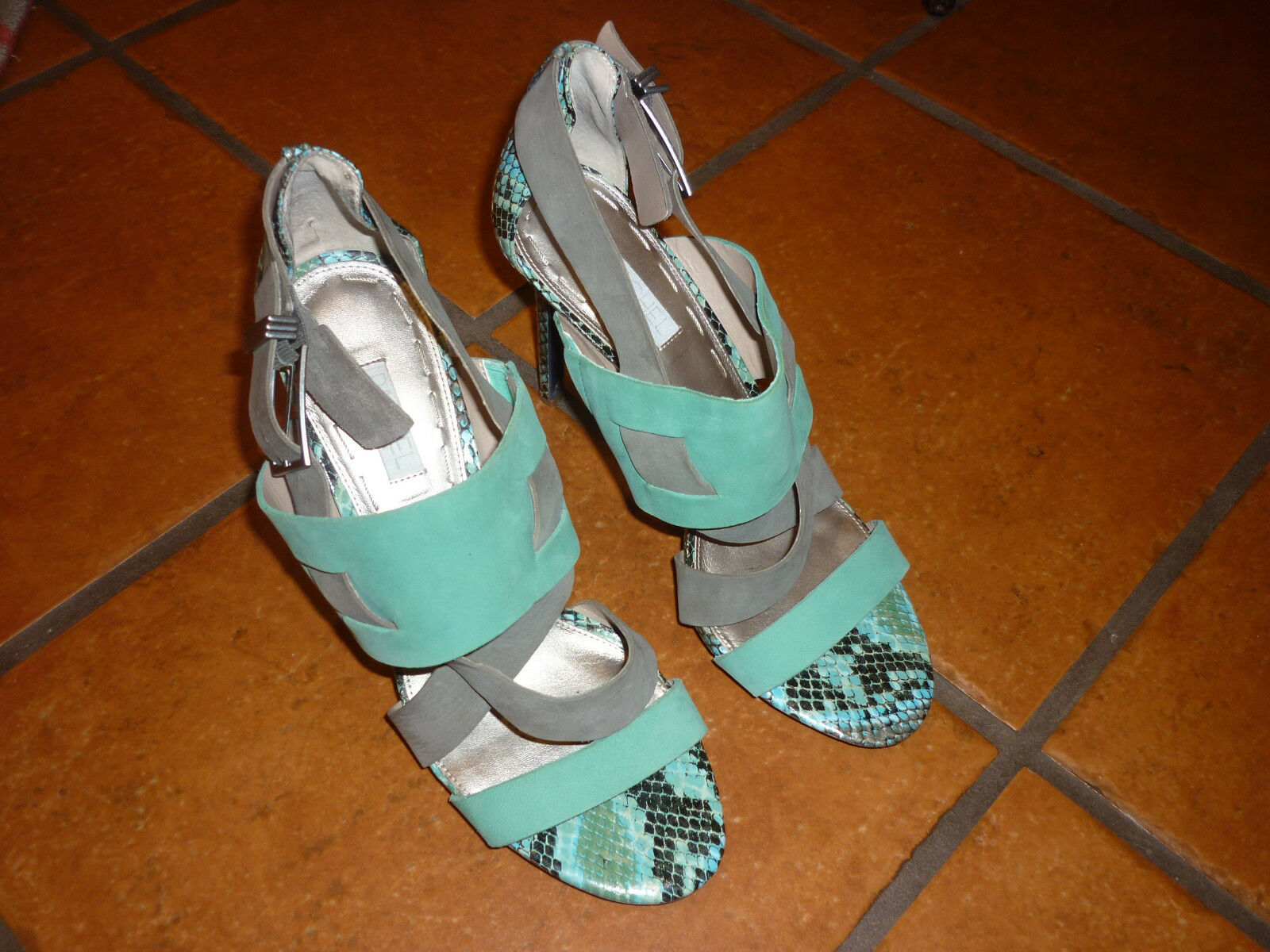 RACHEL Teal ROY SANDALS HIGH HEELS Turquoise STRAPPY Teal RACHEL Green Grey SUEDE/LEATHER 10 707c41