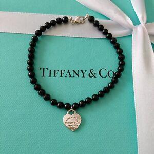 Authentic-Genuine-Tiffany-amp-Co-Mini-Black-Onyx-RTT-Heart-Tag-Bracelet-18cm