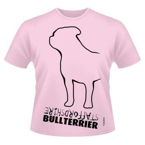 Round-Neck Style Dogeria Design Staffordshire Bull Terrier Dog Breed T-Shirts