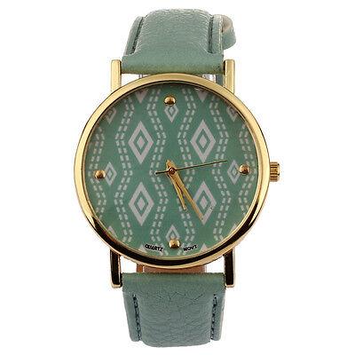 Women's Fashion Retro Geometric Pattern Watch Leather Band Quartz Wrist Watch