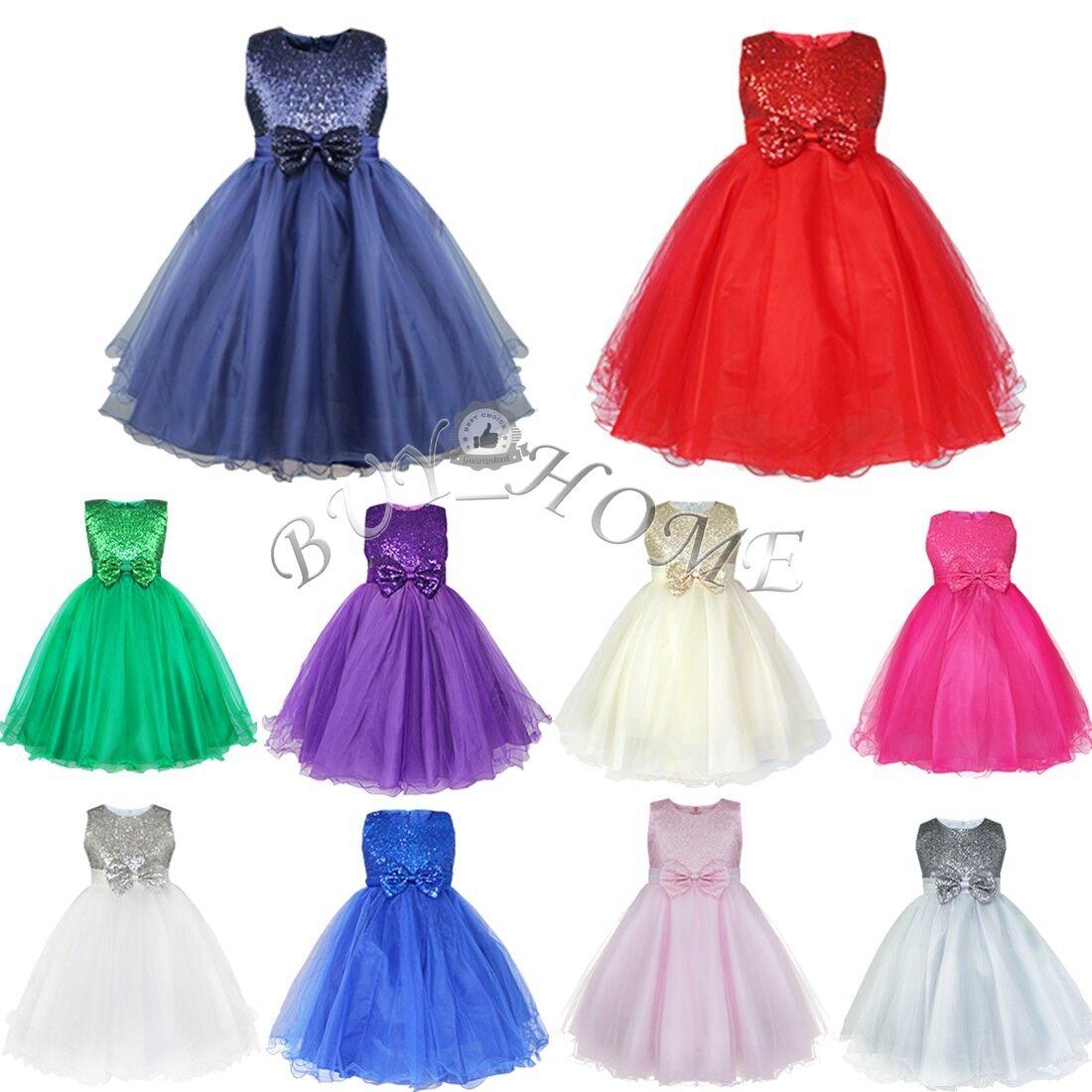 Flower Girl Dress Kids Sequins Tutu Princess Party Pageant Bridesmaid Lace Gown