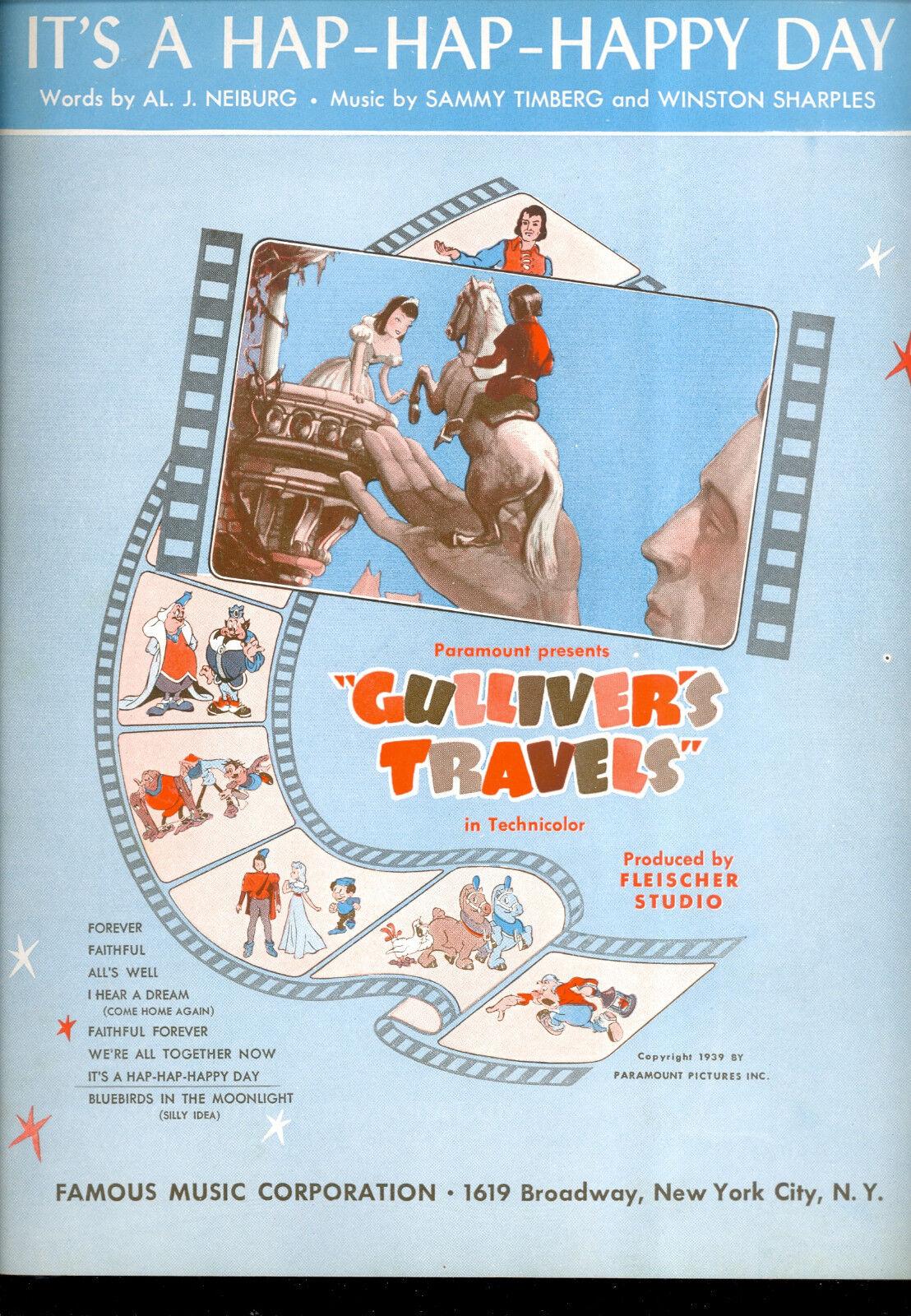 GULLIVER'S TRAVELS Notenblatt   It's A Hap-Hap-Happy Tag   Max Fleischer Cartoon