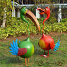 Garden Decor Pair Funny Ibis Outdoor Birds Lawn Ornaments Statues Green Red 88cm