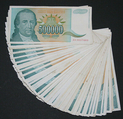 Yugoslavia - LOT 100 notes - P 131 - 500000 Dinara - HYPERINFLATION 1993 - VF-XF