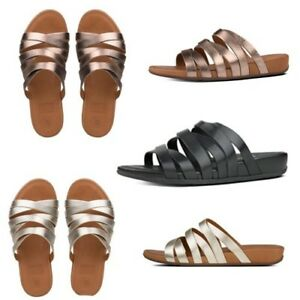 Details about FitFlop Lumy Leather Slide Criss cross Strappy Women's Sandals UK 3 7