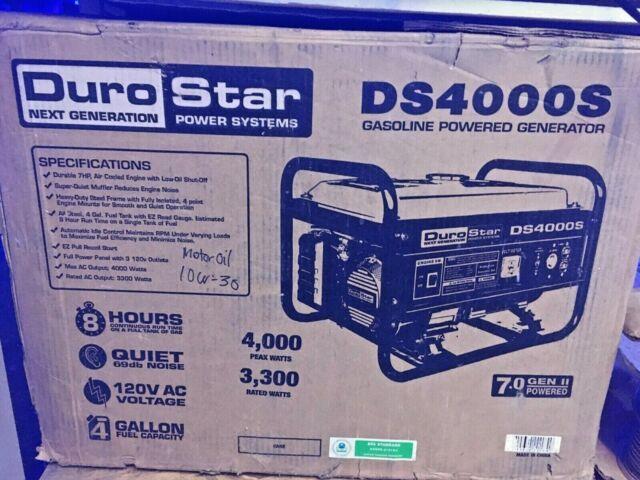 DuroStar DS4000S Gas Powered 4000 Watt Portable Generator