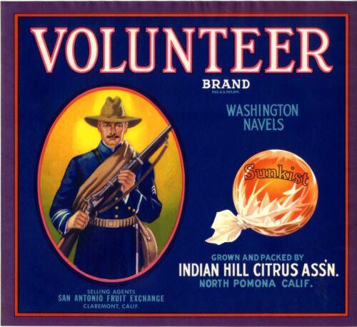 **ORIGINAL** 1930s Pomona Volunteer Vintage Orange Citrus Fruit Crate Label Rare