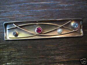 Ausgefallene Designer 585er Gold Rubin Diamant Brosche Handarbeit Unikat
