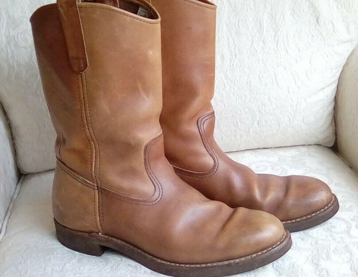 rouge Wing Work bottes épais en cuir marron pour HOMME taille 9.5D à Enfiler USA Made Liège