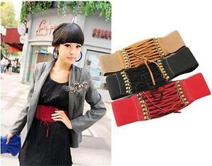 Charmful-Womens-Lady-Rivet-Elastic-Buckle-Wide-Waist-Belt-Waistband-Corset-FI