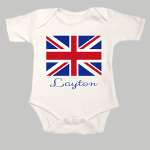 Personalised Union Jack Your Childs Name Baby Grow Bodysuit Vest British Flag