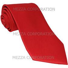 New Polyester Men/'s Neck Tie /& hankie solid formal wedding prom uniform red