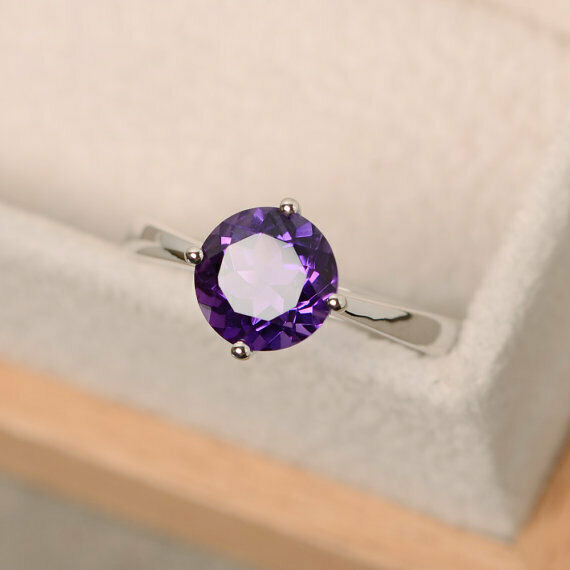 2.00 Ct Round Genuine Amethyst Wedding Beautiful Ring 14K White gold Size 5 6