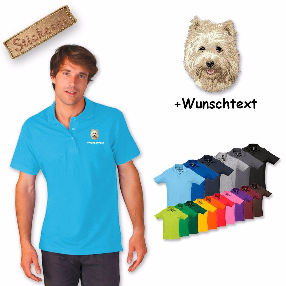 Polo Shirt Cotton Embroidered Dog Cairn Terrier + Text of your choice