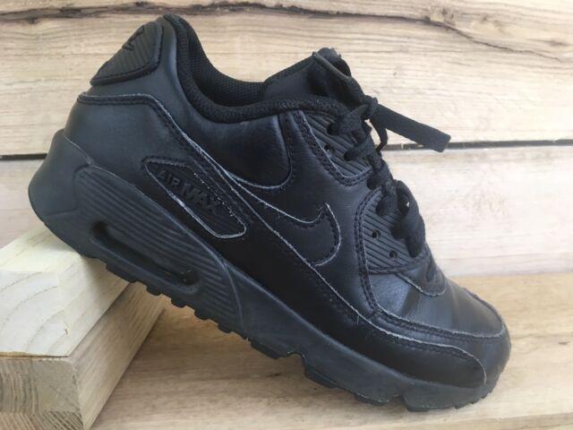 ae4142fbb46b4e Nike Air Max 90 GS Triple Black Kid Youth Women Running Shoes 833412 ...