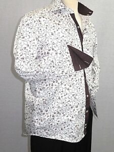 Men Shirt J.Valintin Turkey Usa Egyption Cotton Axxess Style 3325-1 Brown