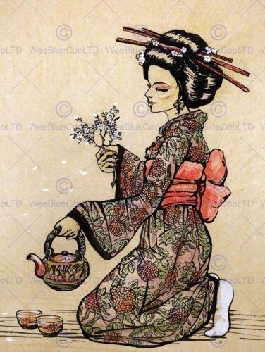 TEA CEREMONY JAPANESE GEISHA TEAPOT CHERRY BLOSSOM ART PRINT POSTER BMP1244B