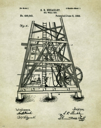 Oil Well Drilling Patent Poster Art Print Vintage Pump Drill Bit Rig Gas  PAT258