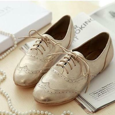 Womens leather ladies oxford flats lace up shoes Brogue Sneakers Sport Shoes Sz