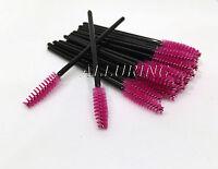 Eyelash Extension Disposable Mascara Wands Brushes Magenta ( Black Handles )