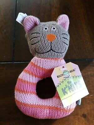 Rich Frog RING RATTLE FROG baby plush rattle toy NEW with tag Gray Cat