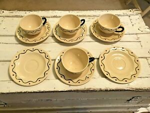 Vtg-Metlox-Poppytrail-Green-Rooster-4-Cups-amp-6-Saucers-CA-Provincial-Art-Pottery