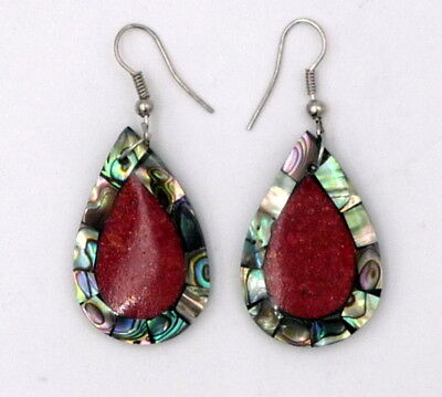 FAIR TRADE Abalone Shell and Red Coral Earrings Hanmade in Indonesia