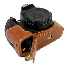 Bottom Opening PU Leather Camera Case Bag Cover For Nikon D3200 Brown with Strap