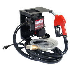 New Electric Diesel Oil Transfer Pump 110V Fuel Manual Nozzle Hose w/ Meter