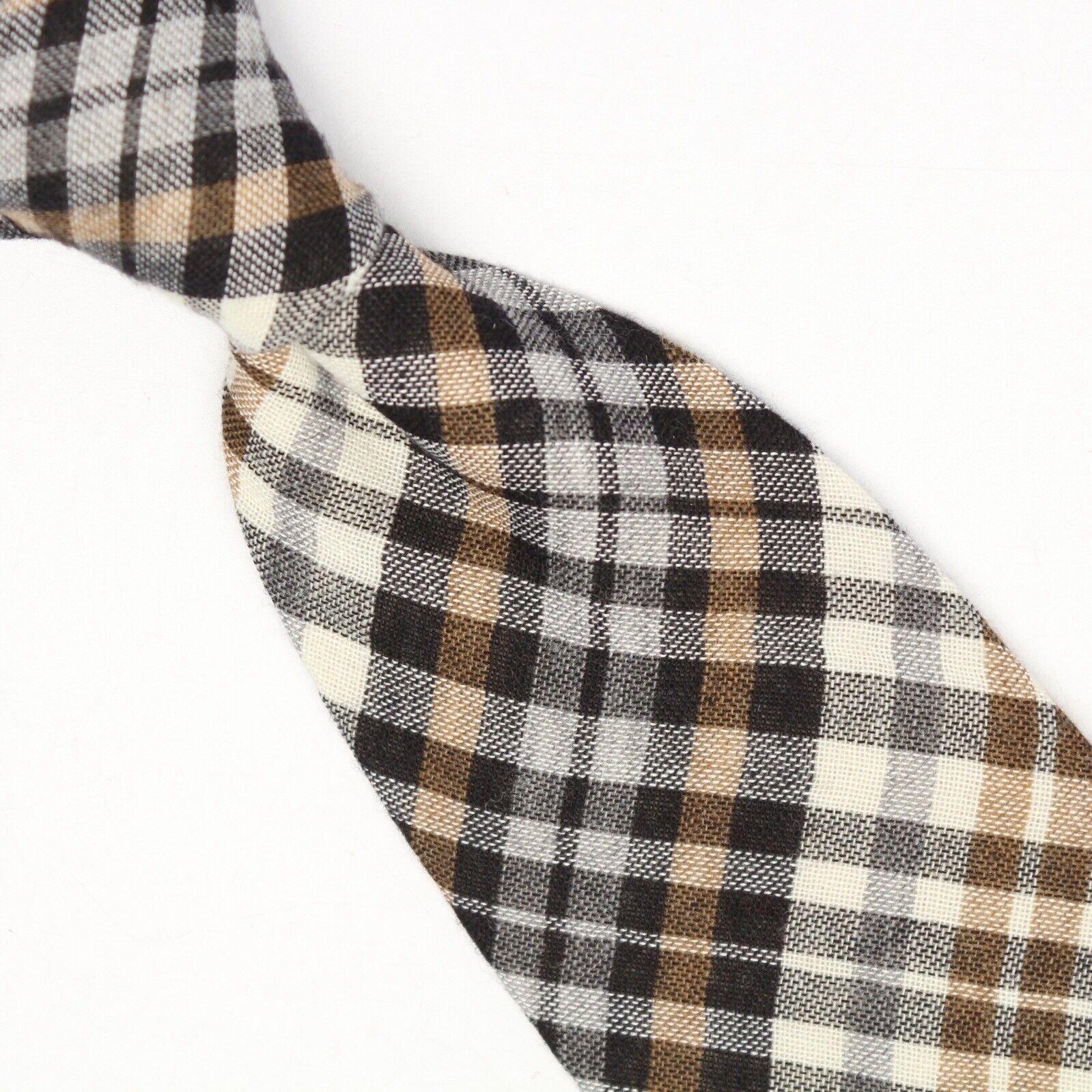 Gladson Herren Wolle Seide Krawatte Beige Brown Schwarz-Grau Kariert Gewebe Soft