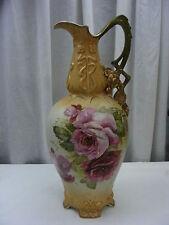Vintage Vase Vienna Austria Turn 17 1/2 inches Pink Roses Green Brown Gold