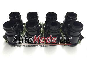 """Set of 8 1/2"""" Fuel Injector Top Hat Extender Black 14mm 14 camaro mustang ls1"""