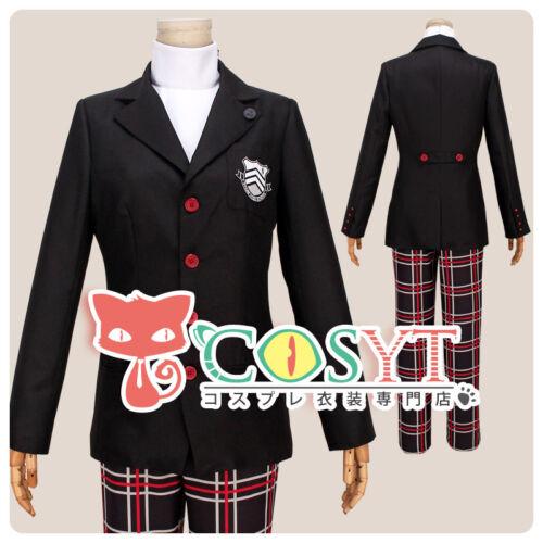 Persona 5 The Hero Suit Uniform High Collar Inner Checker Cosplay Costume COSYT