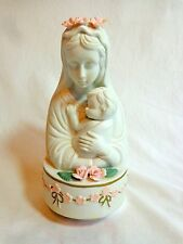 "AVE MARIA MUSIC BOX Virgin Mary Baby Jesus Pink Flowers White Porcelain 8"" JSNY"