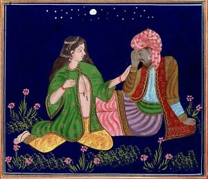 Persian-Couple-Enjoying-Romance-on-Silk-Cloth-Painting-Handmade-Fine-Art-work