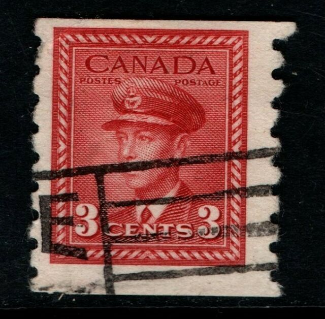 Canada 1942 1948 King George VI 3c coil perf 8 SG391 Used