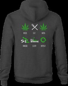 Zip Up Hoodie Weed Eat Sleep 420 Hooded Sweatshirt