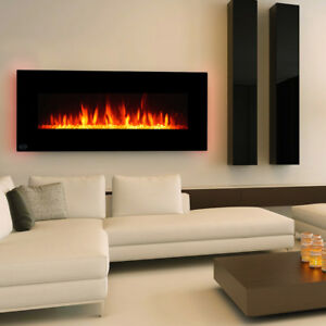 Clevr-48-034-Wall-Mount-Adjustable-Electric-Fireplace-Heater-w-Backlight-amp-Remote